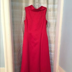 Papell Boutique Full length red satin dress